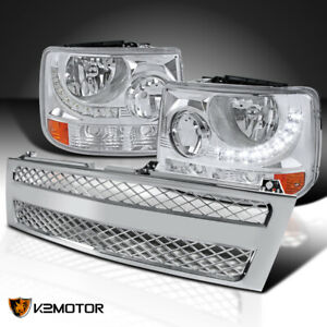 Chevy 99 02 Silverado 1500 2500 1pc Style Headlights W led mesh Grille