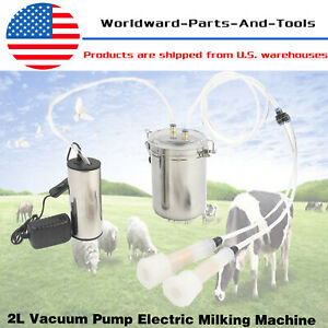2l Portable Vacuum Pump Electric Milking Machine Fits For Farm Cow Sheep Goat