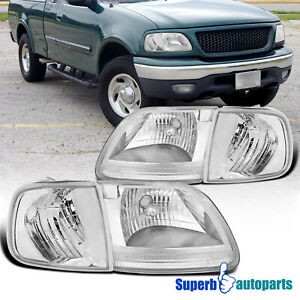 For 1997 2003 Ford F150 expedition Headlights clear Corner Signal Lights Pair