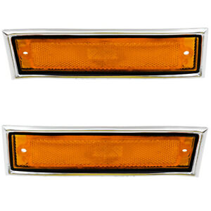 Pair Set Side Marker Lights Amber Lens W Chrome Trim For 81 91 Gmc Chevy Pickup