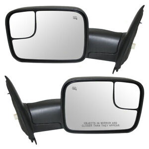 Pair Towing Mirrors For 02 10 Dodge Ram Pickup Truck Set Power Heated Flip Up