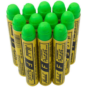 12 Pc Box Flourescent Green Markal F Paint Stick Glow Uv Crayon Chalk Auto Tire