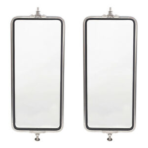 Universal West Coast Truck Set Of Stainless Steel Side Mirror Heads