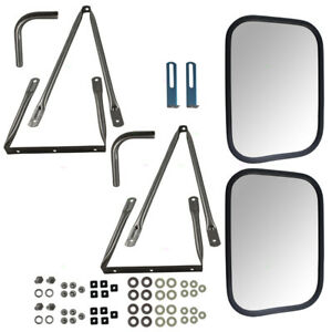 78 91 Gm Pickup Suv Set Universal Tow Mirrors Stainless Steel W Long Brackets