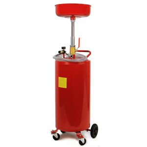 20 Gallon Waste Oil Drain Capacity Tank Portable Wheel Hose Air Operate Drainer
