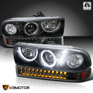 For 1998 2004 Chevy S10 Blazer Halo Black Projector Headlights led Bumper Lights