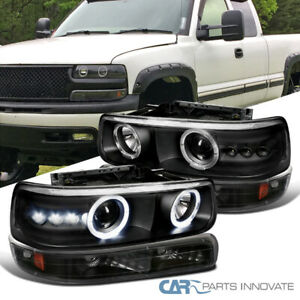 Fit 99 02 Silverado 00 06 Tahoe Suburban Black Halo Projector Headlights Bumper