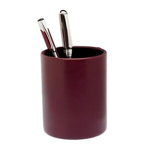 Burgundy Leather Round Pencil Cup N a