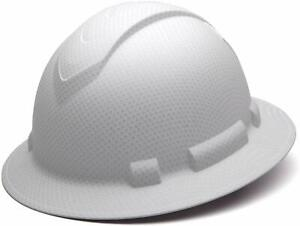 Carbon Fiber Hard Hat Full Brim Ratchet Suspension Construction Helmets White