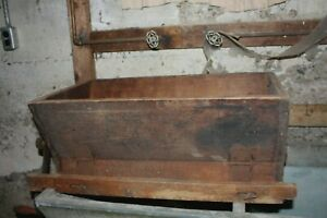 Wooden Antique Primitive Flour Sifter Trough Roller Brush Inside