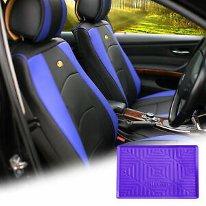 Leatherette Seat Cushion Covers Front Bucket Blue W Purple Dash Mat For Auto