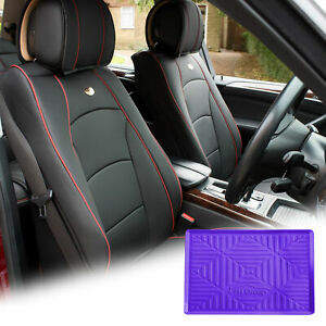 Leatherette Seat Cushion Covers Front Bucket Black W Purple Dash Mat For Car