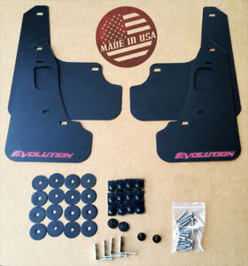 Streetrays 08 15 Mitsubishi Evo X Mud Flaps Set Black W Logo Hardware Kit