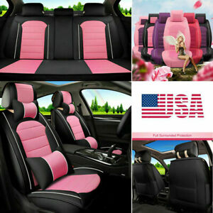 New Elegant Lady Car Seat Cover Cute Pink Pu Leather 5 sits Cushion Protector Us