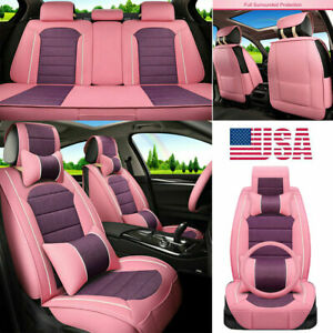 Us Cute Girl Car Seat Covers Pink Pu Leather Universal Fits 5 sits Suv Cushion
