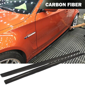 Fit For Bmw 1series E82 1m 11 16 Side Skirts Extension Spoiler Lip Carbon Fiber