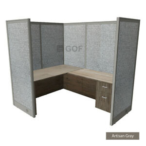 Gof 1 Person Workstation Cubicle 5 d X 6 w X 4 h office Partition artisan Grey