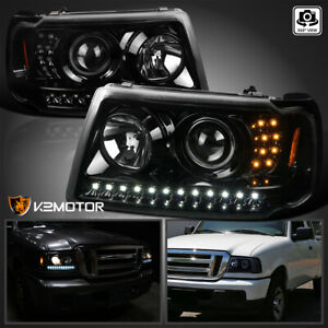 Fits Ford 2001 2011 Ranger Jet Black Led Strip Projector Headlights Corner Lamps