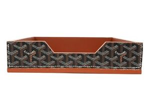 Goyard Brown Black Chevron Desk Tray Accessories Office Desk Organizer