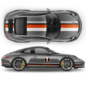 Le Mans Racing Stripes Graphic Decals Set For Porsche Carrera Cayman Boxster