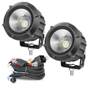 Pair 3inch Round Cree White Led Spot Work Light Driving Fog Motor Offroad 4wd Su