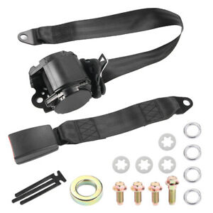 Polyester Car Adjustable 3 Point Retractable Safety Quick Release Seat Belt New