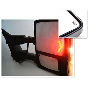 For 03 07 F250 f550 Super Duty Towing Mirrors Set Power Heated Smoke Led Signals
