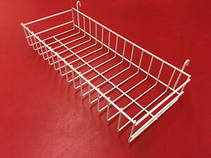 Mini Wire Grid Basket For Wire Grid 18 X 7 X 3 Inch White Display In Store