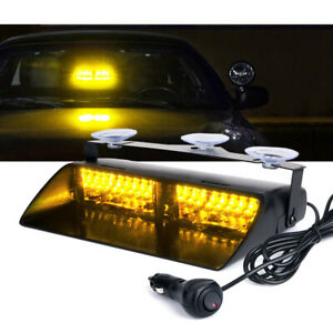 Xprite Yellow Amber 16 Led Strobe Light Windshield Dash Emergency Hazard Warning