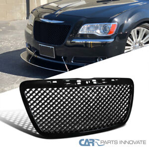 For 11 14 Chrysler 300 300c Front Insert Glossy Black Abs Mesh Hood Grill Grille