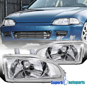 For 1992 1995 Honda Civic Head Lights Lamps Pair Replacement