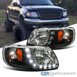 For 97 03 Ford F150 Expedition Pickup Black Headlights W Smd Led Strip Pair
