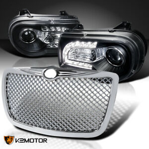 For 2005 2010 Chrysler 300c Black Led Drl Projector Headlights mesh Hood Grille
