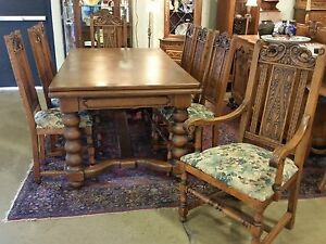 Antique Oak Large Draw Leaf Table 8 Tall Chairs Circa 1920s Restored La Area