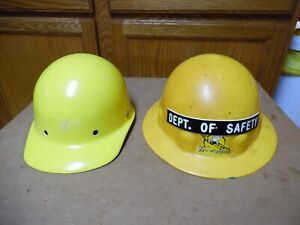 2 Vtg Fibre metal Hard Hat Superlectric Yellow Dept Of Safety 1956 Pat