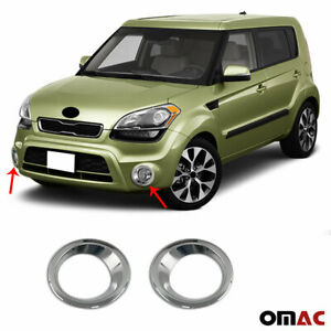Fits Kia Soul 2010 2013 Chrome Fog Light Frame Trim Cover S Steel 2 Pcs