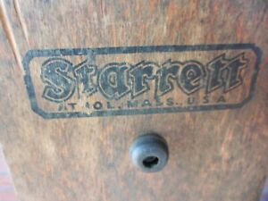 Very Vintage No 20 Starrett Precision Machinist Square In Orig Wood Stand 24