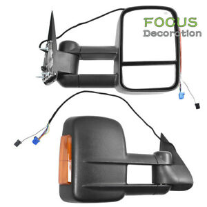 Towing Power Heated Signal Side View Mirror Pair For 2003 2007 Chevy Gmc Mirrors