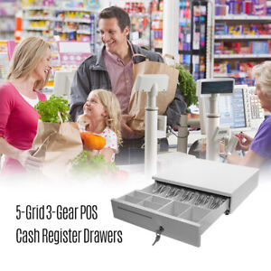 Pos Cash Register Drawers Cashbox Five grid Three gear W Movable Coin Tray G0j3