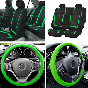 Flat Cloth Car Seat Covers Full Set Green W silicone Steering Wheel Cover Auto