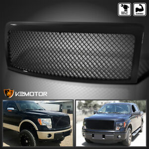 Fit 2009 2014 Ford F150 Front Bumper Hood Replacement Mesh Grille Polished Black