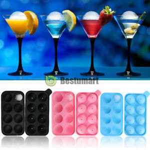 Ice Balls Maker 8 Large Round Sphere Tray Molds Cube Whiskey Cocktails Silicone