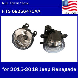 Pair Lh Rh Fog Driving Light Lamp Fit For 2015 16 17 18 Jeep Renegade W Bulbs