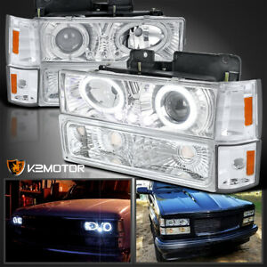 For 94 98 Gmc C K Sierra Yukon Led Halo Projector Headlights Corner Bumper Lamps