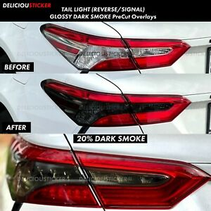 Smoke Tail Light Rear Signal Reverse Overlays Precut Vinyl Tint For 18 20 Camry