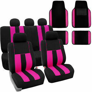 Full Set Car Seat Covers For Auto Suv Van Pink Black With Carpet Floor Mat