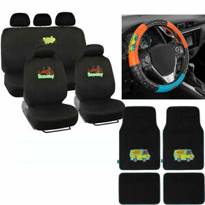 New Scooby Doo By Doo Car Front Rear Floor Mats Seat Covers Steering Wheel Cover