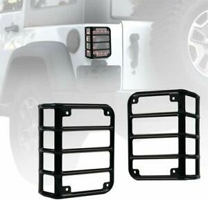 Black Rear Tail Light Guard Protector Cover For Jeep Wrangler Jk 2007 2017