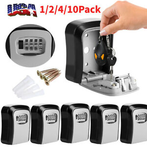 4 digit Combination Key Lock Box Wall Mount Safe Security Storage Case Silver Us