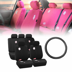 Floral Black Car Seat Covers For Auto With Leather Steering Wheel Cover